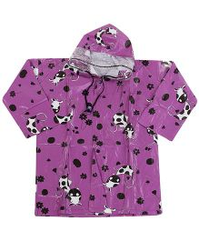 Babyhug Printed Hooded Raincoat Purple