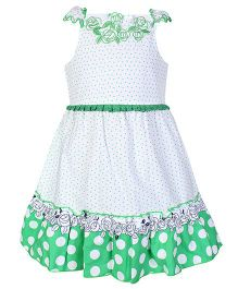 Chocopie Singlet Frock Dotted Print - Green And White