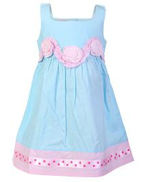 Mini Cupcake Sleeveless Frock Flower Design - Blue