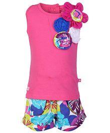 Little Kangaroos Sleeveless Top And Shorts - Pink