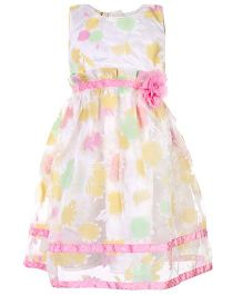 Mini Cupcake Sleeveless Party Wear Frock - White And Pink