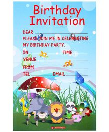 Karmallys Kids Birthday Invitation Pad Animals Print - Set of 20