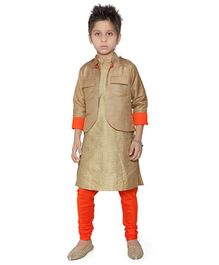 K&U Full Sleeves Silk Kurta And Churidar With Jacket