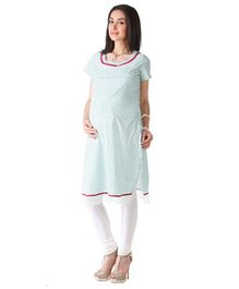 Morph Chudidar And Maternity Kameez Set - White And Green