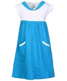 Dreamszone Short Sleeves Frock With Front Pockets - Azure Blue