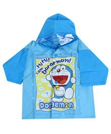 Doraemon Full Sleeves Hooded Toddler Raincoat Doraemon Print - Sky Blue