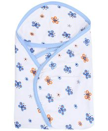 Tinycare Hooded Bath Towel Butterfly Print - Blue