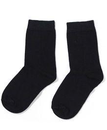 Mustang Solid Color School Socks -  Black