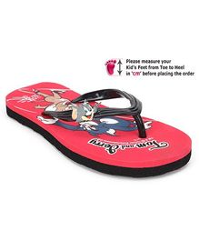 Tom and Jerry Flip Flop with Tom and Jerry Print - Red and Black