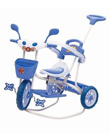 Bajaj Baby Tricycle Adventure Plus With Push Handle - Blue And Pink