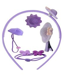 Angel Glitter Hair Accessories Combo of 5 - Purple