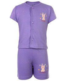 Babyhug Front Open Half Sleeves T-Shirt And Shorts - Purple