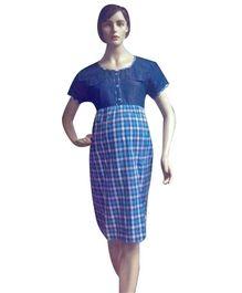 Mama & Bebe Short Sleeves Maternity Dress With Check Print - Blue