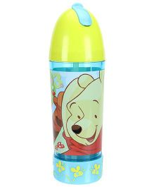 Winnie The Pooh Sipper Water Bottle Push Button Green and Blue - 290 ml