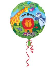 Wanna Party Jungle Animals Birthday Balloon - Multi Color