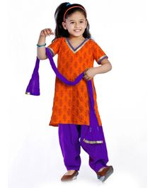 DotnDitto Patiala Salwar Suit Set With Golden Lace - Orange and Purple