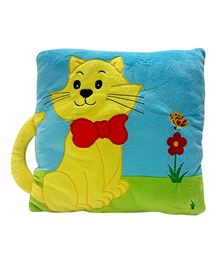 Soft Buddies Cushion Playtoy Loop Yellow Cat - Blue