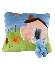Soft Buddies Cushion Animal House Playtoy With Elephant Soft Toy - Multi Colour