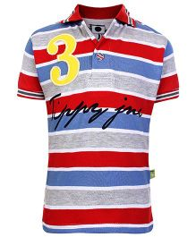 Tippy Half Sleeves Polo Neck T-Shirt Multicolor With Stripe Pattern