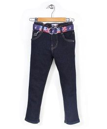 New York Polo Academy Full Length Jeans With Belt - Dark Blue
