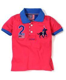 New York Polo Academy Half Sleeves Polo T-Shirt Logo Print - Pink