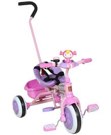 Fab N Funky Baby Tricycle With Safety Belts And Push Handle - Pink and Purple