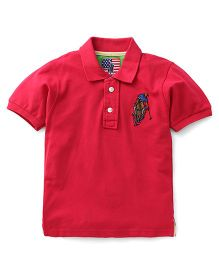 New York Polo Academy Half Sleeves T-Shirt With Logo - Red