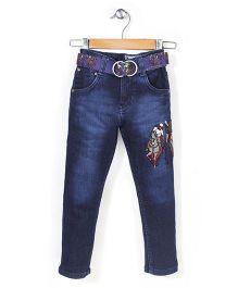 New York Polo Academy Full Length Denim Jeans With Belt - Navy Blue