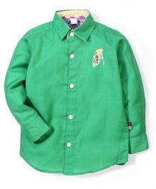 New York Polo Academy Full Sleeves Shirt With Logo Embroidery - Green