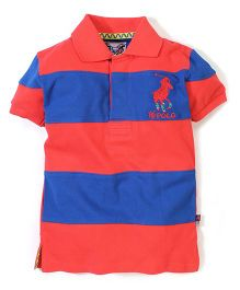 New York Polo Academy Half Sleeves Polo T-Shirt With Stripe Pattern - Orange and Blue