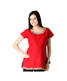 Morph Short Sleeves Maternity Kurta Style Top Red