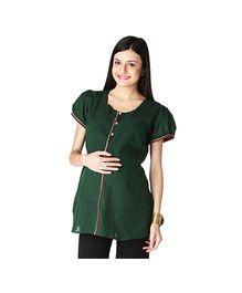 Morph Puff Sleeves Maternity Kurta Style Top Green