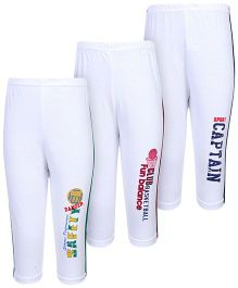 Cucumber Track Pant White With Multi Print - Set of 3