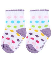 Cute Walk Ankle Length Socks Dot Print - Lavender