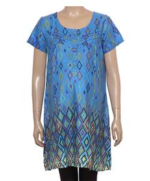 Uzazi Maternity Long Tunic Top Geometric Print - Blue
