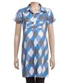 Uzazi Maternity Long Tunic Top In Half Sleeves - Blue