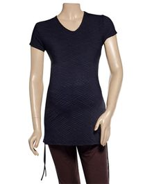 Uzazi Maternity Top With Ruched Style - Black