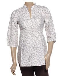 Uzazi Maternity Tunic Top Quarter Sleeves - Paisley Print