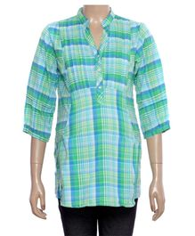 Uzazi Maternity Top Checkered Pattern - Green