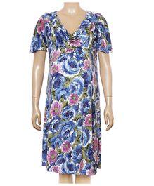 Uzazi Maternity Dress Cowl Neck - Blue