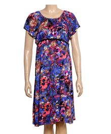 Uzazi Maternity Evening Wear Dress With Flared Sleeves - Floral Print
