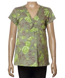 Uzazi Maternity Nursing Top Short Sleeves - Green