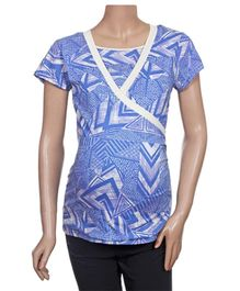 Uzazi Nursing Top Half Sleeves - Blue