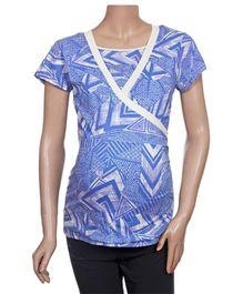 Uzazi Nursing Top Half Sleeves - Blue