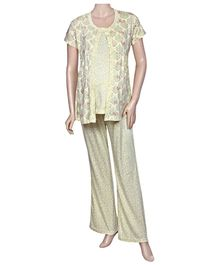 Uzazi Maternity Night Wear Printed - Yellow