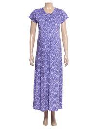 Uzazi Nursing Nighty Full Length With Short Sleeves - Violet