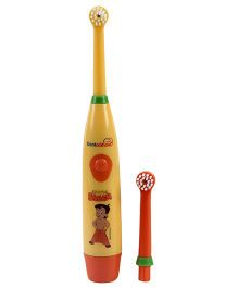 Dentioshine Chhota Bheem Power Tooth Brush With Extra Head - Yellow And Orange