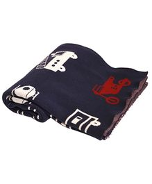 Pluchi Cotton Knitted Kids Blanket On the Road And Up in the Air