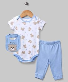 3 Piece Teddy Layette Set - White & Blue