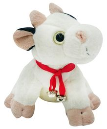 Soft Buddies Cow Soft Toy With Bell White -Height 22 cm
